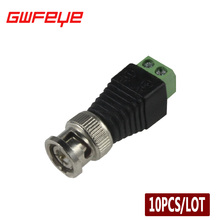 GWFEYE 10PCS/Lot Cat5 BNC Male Connector UTP Video Balun Connector BNC Plug DC Adapter For CCTV Camera