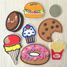 20PCS Embroidered Cake Ice Cream Biscuits French Fries Hamburg Dessert Donuts Sweater Iron On Sew On Patches Applique
