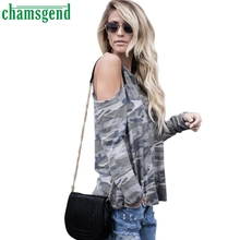 CHAMSGEND Good Deal 2017 Brand New  Women Off Shoulder Camouflage Long Sleeve Tops T-Shirt 1PC_U00442