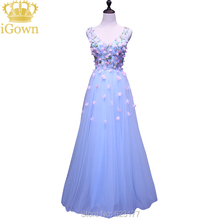 iGown Brand Evening Dress V-Neck Sleeveless Light Blue Lace Evening Dress Floor-length Party Prom Dress Plus size