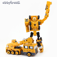 Abbyfrank 2 in 1 Robot Car Transformation Robots Model Metal Alloy Oyuncak Truck Excavator Construction Vehicle Deformation Toys