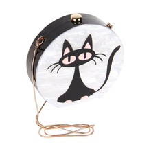 JULY'S SONG Acrylic Evening Bag For Women Fashion Cute Cat Cartoon Lady Dinner Clutch Bag Small Chain Round Shoulder Bag(China)