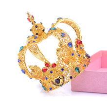 2017 New Big Crown Crystal With Pearl Tiara Wedding Crown Bride Womens Head Band Vintage Baroque Royal Hair Jewelry Accessories(China)