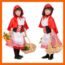 2017 CHILDREN'S HALLOWEEN COSTUMES GIRLS LITTLE RED RIDING HOOD COSTUME WITH CLOAK KIDS LITTLE RED RIDING HOOD COSPLAY(China)