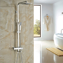 "Buy Chrome Polished Thermostatic Faucets 8"" ABS Shower Head Shower Faucet Bathroom for $104.98 in AliExpress store"