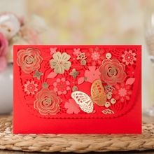 WISHMADE Personalized Chinese Laser Cut Red flower Party/Ceremony Invitation Cards Design With Envelope 50pcs/lot CW7013(China)