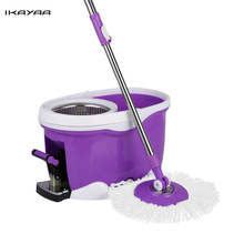Ikayaa Magic Floor Spin Mop Hands-free 360 Rolling Spin Mop Bucket Set Foot Pedal Rotating Floor Mop with 2 Microfiber Mop Heads(China)