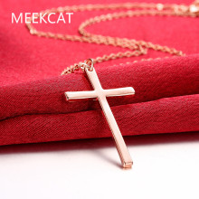 MEEKCAT Cross Necklace & Pendant Christian Statement Jewelry Wholesale Rose gold colour Chain Cross Necklace for Men gift