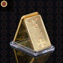 Fake 999 Gold Bar 24k Gold Plated German Gold Bullion Bar Iron Cross Bullion Bar with Clear Acrylic Capsule