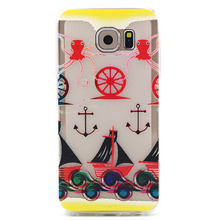 Suppion Cheap Soft TPU Case Cover For Samsung Galaxy S6 Cell Phone Boat Anchor Pattern Rubber Wholesale(China)