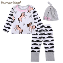 Humor Bear Autumn Baby Girls Sets Cartoon Baby Clothes Girls Clothes 3PCS Long Sleeve + Pant + Hat Suit Infant Garment(China)
