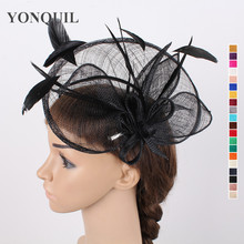 Women black fascinators 25cm large hat headwear wedding sinamay base hat feather adorn hair accessories suit all season SYF104