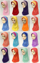 Kids Girls Lace Muslim Caps Hijab Cap Islamic Wrap Arab Shawl Headwear scarf Hat Head Cap(China)