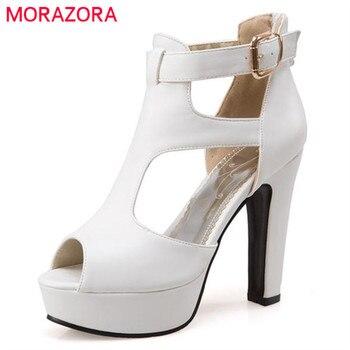 Morazora tamanho grande 34-48 mulheres bombas festa de casamento sapatos peep toe plataforma fivela sapato moda eleagnt verão sólida sapatos de salto alto