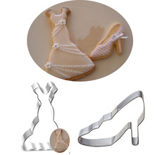 2pcs patisserie reposteria Cookie Cutter Cocktail Dress High Heel Shoes Fondant Cake Decor Tool Chocolate Mould Biscuit Mold DIY(China)