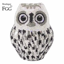Women Black Silver Crystal Owl Handbags Purse Bridal Wedding Party Animal Metal Clutches Shoulder Bags Ladies Evening Clutch Bag(China)