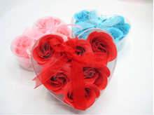 Bath Body Heart Rose Petal Wedding Gift Favor Colors Flower Soap In event party supplies decorations(China)