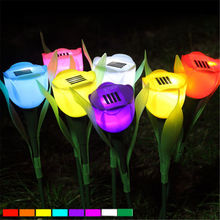Tulip Flower Solar Powered LED Landscape solar Light Outdoor solar lamp Yard Garden Path Grass Road art deco garden light