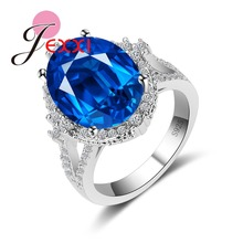 JEXXI Luxury Big Round Blue Crystal Anel Feminino Bilateral Gapping Design Rings 925 sterling-silver-jewelry for Women Weddin