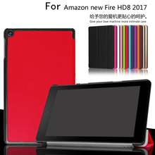 New 2017 Slim Magnetic Folding Flip PU Case Cover For Amazon Kindle New Fire HD8 HD 8(China)