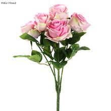 1 Bunch Silk Artificial Flower Pink Rose Celebrations Home Wedding Party Public places Garden Festival Decor 47cm