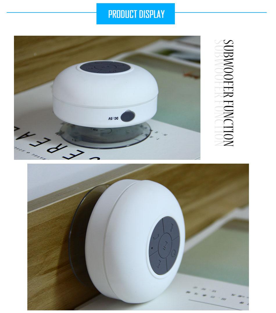 Wireless Bluetooth Speaker Waterproof Music Player With Sucker Holder Handsfree Microphone HIFI Subwoofer Audio For Car Bathroom