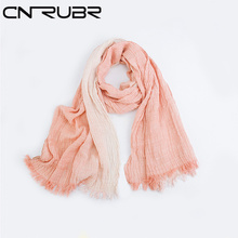 CN-RUBR Brand 10 Colors Women's Long Scarf Warm Soft Neck Striped Linen Scarf Shawl New Spring Arts Fold Scarves  for Female