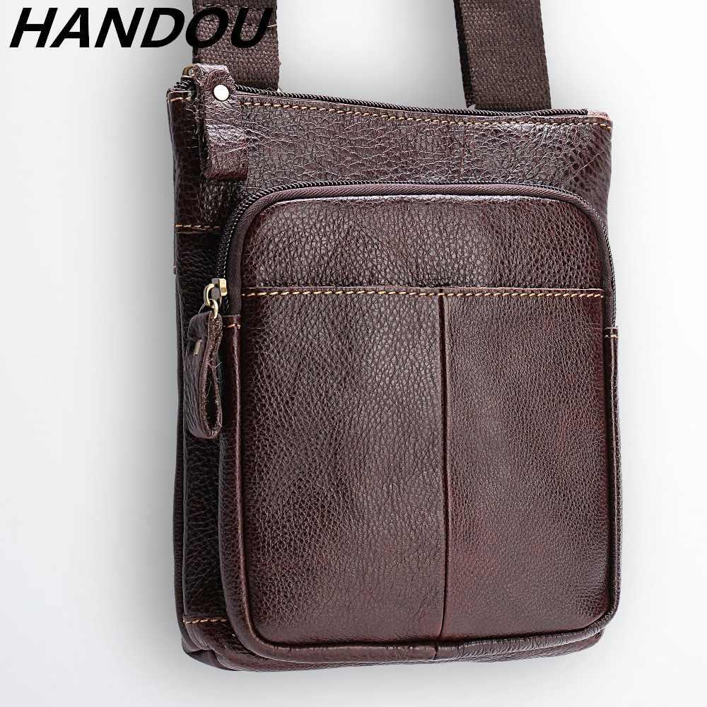 Натуральная Высокое качество кожа Для мужчин сумки мужской кожа Сумка через  плечо сумки Сумки Посланник небольшой d2af0fbf191