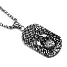 HIP Punk 12 Zodiac Sign Men Cancer Charm Necklaces & Pendants Solid Casting Stainless Steel Dog Tags Necklace for Men Jewelry