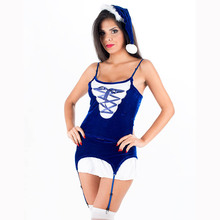 New Sexy Santa Claus Costume Blue Exotic Dress Women Spaghetti Strap Top Short Mini Skirt With Hat Christmas Party Dress W204029