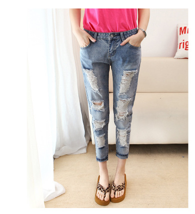 Discount womens jeans new spring and summer fashion trend hole loose harlan cowboy nine minutes of pantsОдежда и ак�е��уары<br><br><br>Aliexpress