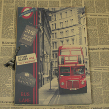 NEW 2016 Vintage london bus Kraft Paper Poster For Living Room Retro Wall Sticker Art Crafts Painting wall pictures ID-086