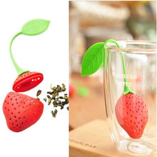 2Pcs/lot Teapot Teacup Strawberry Design Silicone Tea Strainer Infuser Filter Bag Teabag,Food Safety Silicone Herbal Spice Tools(China)