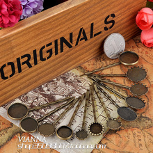 14pcs Antique Bronze Hair Clip Tray Round Blank Base Hairpin Setting Hollow Lace Bezel Setting for Cabochon Cameo 10/12/16/18mm