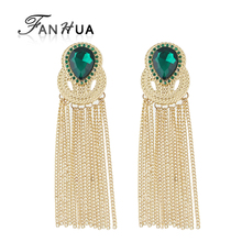 FANHUA  Hot Sale Gold-Color Chain Tassel Long Earrings Party Earrings Green Hotpink Water Drop Crystal Wedding earrings Brincos