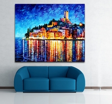 100% Hand-painted European Cities Greece Italy Architecture Art Canvas Painting Wall Art for Home Office Hotel Wall Decor