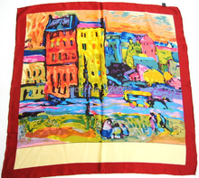 World famous painting 100%silk scarf crepe satin plain shawl (Red house- Van Gogh)