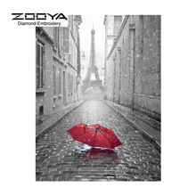 5D DIY Diamond Painting Red Umbrella Embroidery Diamond Painting Cross Stitch Eiffel Tower Rhinestone Mosaic Painting BJ1330(China)