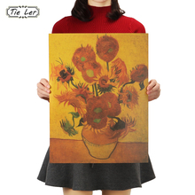 TIE LER Kraft Paper Van Gogh Poster Sunflower Modern Abstract Oil Painting Wall Sticker Decorative(China)