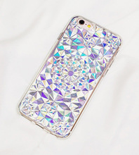 Hot Stylish Holographic Card 3D Stereo Crystal Flower Kaleidoscope TPU Soft Slim Cover For iPhone 6 s + Fashion Phone Cases Girl