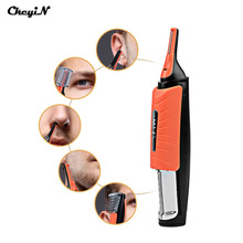 CkeyiN LED Light Multifunctional Nose Hair Trimmer Men Eyebrow Sideburn Ear Hair Removal Haircut Machine with 4 Combs S3738(China)
