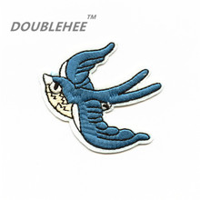 DOUBLEHEE 6.4cm*5.1cm Embroidered Iron On Patches For Clothing Blue Bird Swallow Design For diy Hairband Phone Bag Accessories(China)