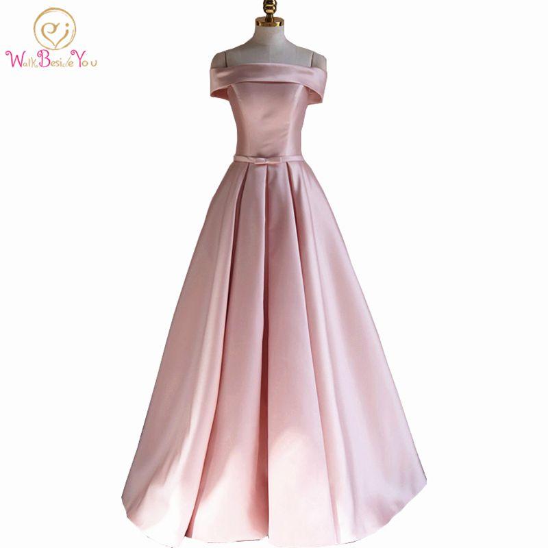 Walk Beside You Bridesmaid Dresses Long Pink Satin Off the Shoulder vestido  madrinha casamento longo robe demoiselle d honneur 3a64d8255ab0