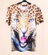 2014 New Summer Women's Leopard Print T-shirts High Quality Short Sleeve O-Neck Fashion tops tees t shits for woman S/M/L
