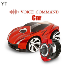 Voice Command Car Rechargeable Radio Control by Smart Watch Creative Voice-activated RC Car, Dazzling Headlights and Cool Brakes(China)