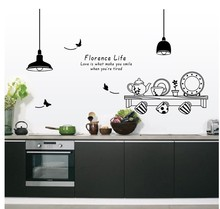 Creative Florence Life Quotes Wall Stickers Kitchen Restaurant Decorations Tea Cup Cupboard Decorative Diy Pvc Murals Art Decals(China)