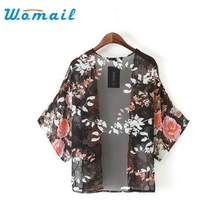 2017 Jacket Hot Marketing 1PC Vintage Retro Floral Loose Shawl Kimono Boho Chiffon Cardigan Coat Jacket Drop Shipping