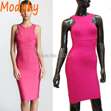 Women's solid hot pink rose sleeveless fashion celebrity bandage dress elegant party sheath dresses drop shipping  HL1401