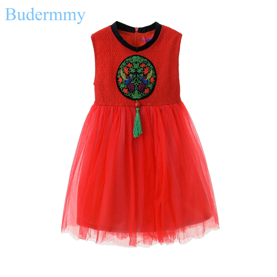 Girls Dress Bird Solid Red Dress Polyester Sleeveless Dress 5-10 Years Girl New Fashion Brand Chinese Style Party Dress Infant<br>