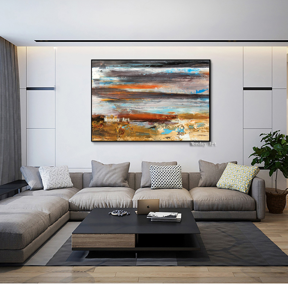 Large-oil-Painting-on-canvas-Abstract-Art-Modern-yellow-Level-acrylic-Painting-Canvas-Art-Living-Room